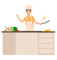 man cut ingredients cooking on table in kitchen vector image