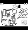maze with mouse coloring page vector image vector image