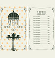 menu for cafe with price list and served table vector image vector image