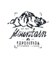 Mountain expedition label with shabby texture vector image