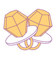 pair diamod rings cartoon jewelry fantasy vector image