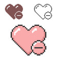 pixel icon heart with minus sign remove from vector image