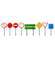 realistic traffic road signs empty highway speed vector image vector image