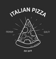 retro logotype with pizza slice and radial rays vector image