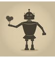 robot holding bouquet of flowers vector image vector image