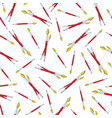 seamless pattern red paint brushes on white vector image