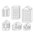 set different houses building in city vector image