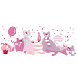set of funny cats with gifts balloons vector image vector image