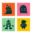 set of retro postage stamp funny monsters cartoon vector image vector image