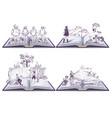 set open book musketeers tom sawyer vector image
