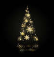 shining christmas tree glow dots and snowflakes vector image