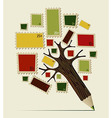 Stamp icon pencil tree concept vector image vector image