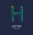 the letter h latin alphabet display vector image
