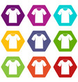 tshirt icon set color hexahedron vector image vector image