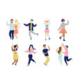 young dancing tiny stylish people set vector image vector image