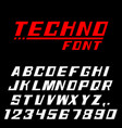 techno font letters and numbers vector image
