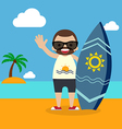Surfer with surfboard on summer vacation vector image