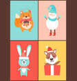 animals collection cards on vector image vector image