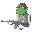 Army milkshake character cartoon style