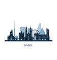 basel skyline monochrome silhouette vector image vector image