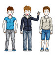 beautiful happy young teenager boys posing vector image vector image