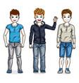 beautiful happy young teenager boys posing vector image