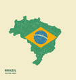 brazil map with flag with scuffed effect vector image vector image