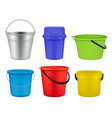 buckets collection empty plastic or metal vector image