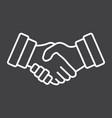 business handshake line icon contract agreement vector image vector image