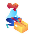 businesswoman packing cardboard box isometric 3d vector image
