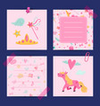cartoon magic and fairytale notes template vector image vector image