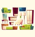 cartoon set of furniture - sofa bed vector image