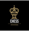 chess championship logo emblem with king chess vector image