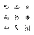 Christmas pixel style icons set vector image