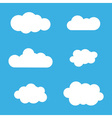 Cloud icons set White outline isolated on blue vector image vector image