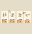 coffee package with text and line icons paper vector image vector image