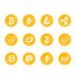crupto coins icons set vector image