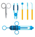 dentist medical tools icons health care vector image vector image