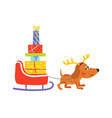 dog with reindeer antlers pulls sledge with gifts vector image vector image