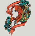 doodle woman portrait vector image