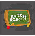 education blackboard with colors pencils and apple vector image