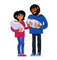family happy young parents with new born twins vector image vector image