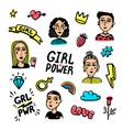 feminist sticker set feminist cute hand drawing vector image