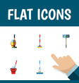 flat icon broomstick set of cleaning bucket vector image vector image