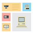 flat icon computer set of pc vintage hardware vector image vector image