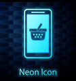 glowing neon mobile phone and shopping basket icon vector image vector image