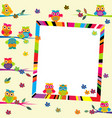 greeting card with cartoon owls and frame vector image vector image