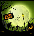 halloween night with pumpkinszombie silhouettes vector image