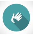 Hand holds hand icon vector image vector image