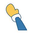 hand with glove cartoon vector image